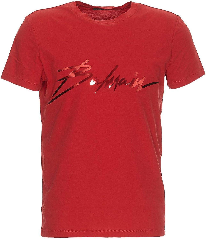 BALMAIN Men's RH01601I1313AA Red Cotton TShirt