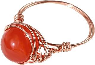 خواتم العقيق الأحمر للنساء العقيق حجر العقيق الدائري الأحمر الأحجار الكريمة الدائري للنساء الأسلاك ملفوفة الدائري