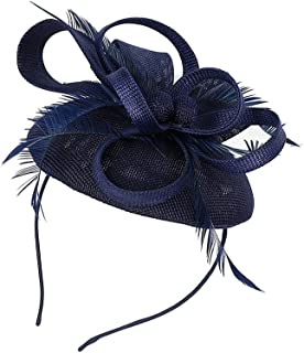 MagiDeal Wedding Ladies Feather Fascinator Headband Hat Headband Hair Accessories - Navy Blue