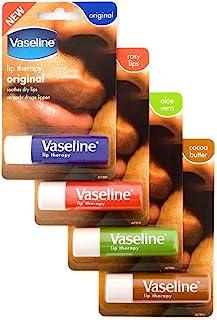 Vaseline Lip Therapy Stick with Petroleum Jelly (Original, Aloe Vera, Rosy Lips, Cocoa Butter)- 4pk