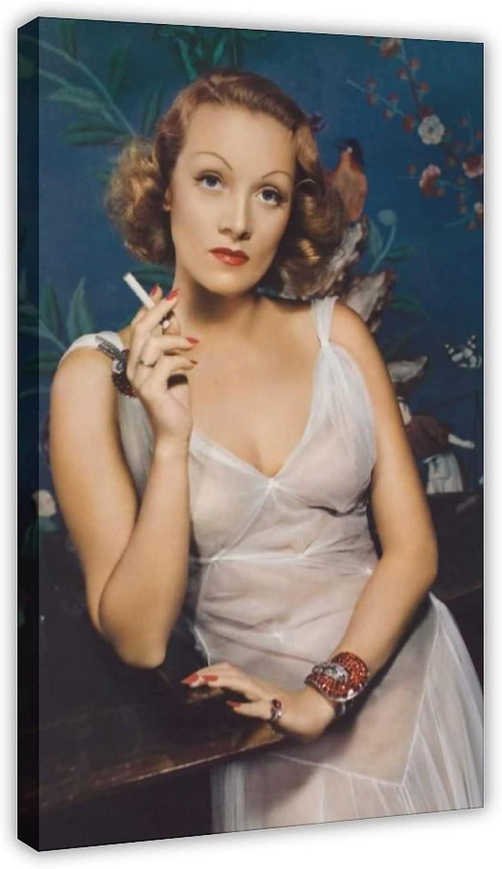 Póster de lona de Actor Marlene Dietrich 51 para decoración de dormitorio, deportes, paisaje, oficina, habitación, marco de regalo, 60 x 90 cm