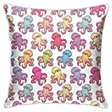 Throw Pillow Case Cushion Cover,Hand Drawn Animal Pattern with Tentacles Ocean Inspirations Marine Fauna Wildlife ,18x18 Inches