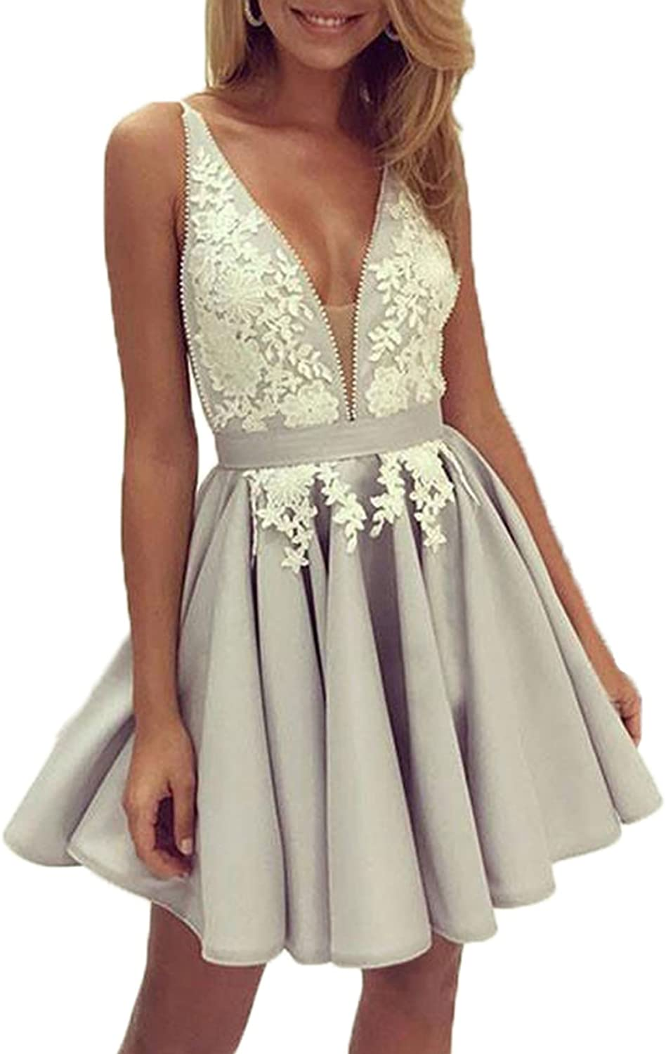 Libaosha Sexy VNeck Lace Appliqued Short Homecoming Dresses