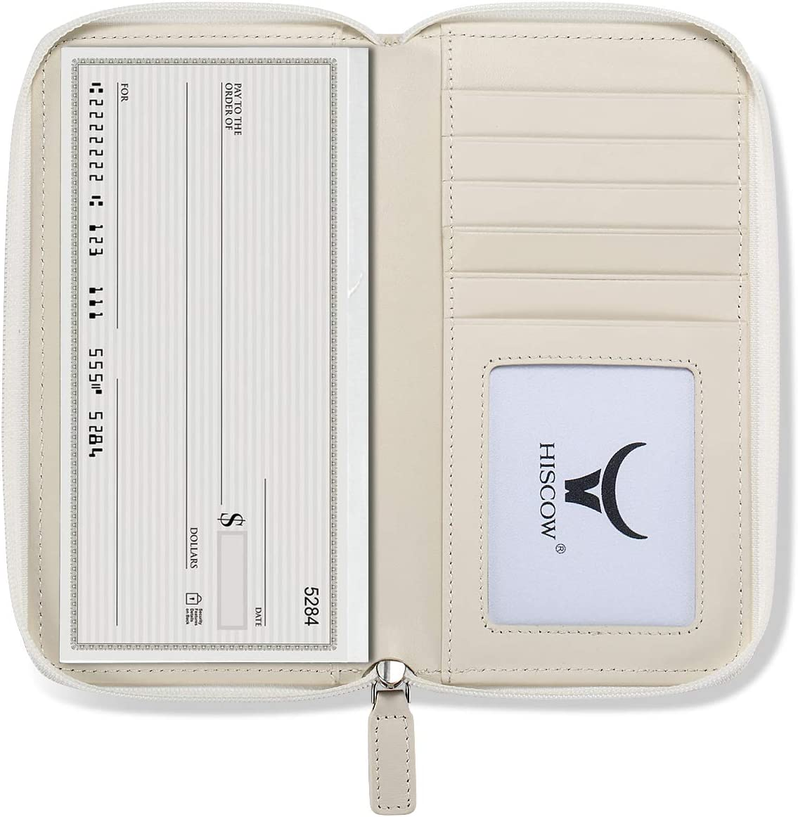 HISCOW Zippered Checkbook Cover Card Max 87% OFF - Ita Ranking integrated 1st place Divider Holder with