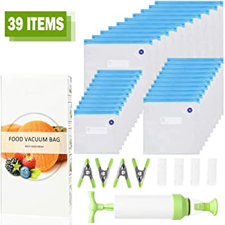 Vacuum Food Storage Bags for Sous Vide, Large Sous Vide Bags with Pump, Sous Vide Bag Clips for Food Storage and Chefsteps, Anova, Joule, Wancle Sous Vide Cooking