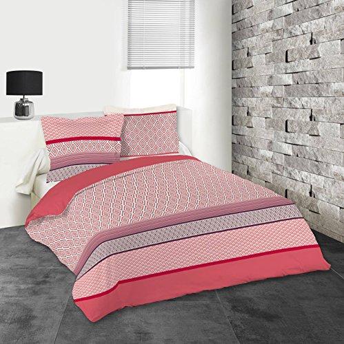 Lovely Casa Lima Housse de couette 260 x 240 cm avec 2 Taies d'oreiller 63 x 63 cm, Coton, Rouge