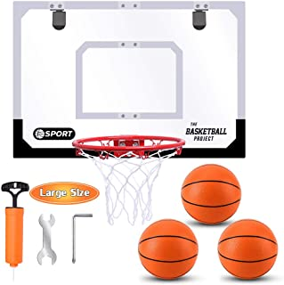 Large Indoor Mini Basketball Hoop Set for Kids and Adult 24 X 16 Inch Board Family Games for Home and Office Door & Wall w...