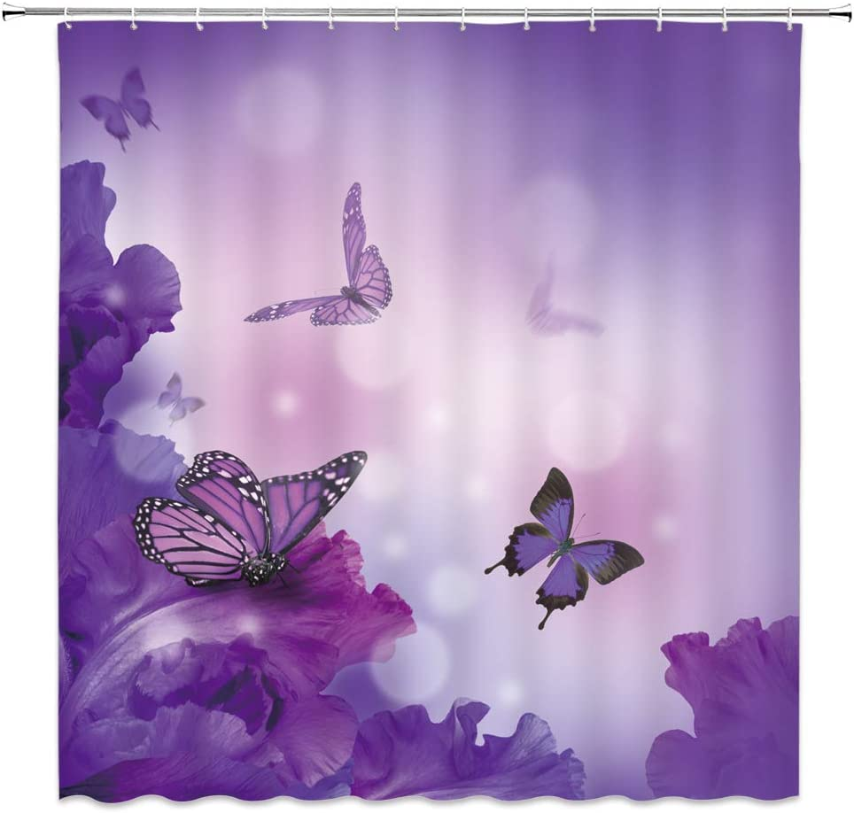 Attention brand XZMAN Quantity limited Butterfly Shower Curtain Purple F Flower Wings Butterflies