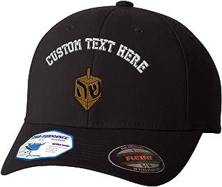 Custom Flexfit Baseball Cap Dreidel Embroidery Design Polyester Hat Elastic