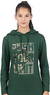 TEES PARK Hooded/Hoodies Printed Full Sleeve Regular Fit T-Shirts for Women's