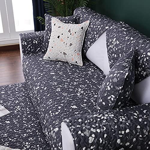 ZSDCG Funda de sofá, funda de algodón, color gris y blanco, protector de muebles, funda reclinable para sala de estar, dormitorio
