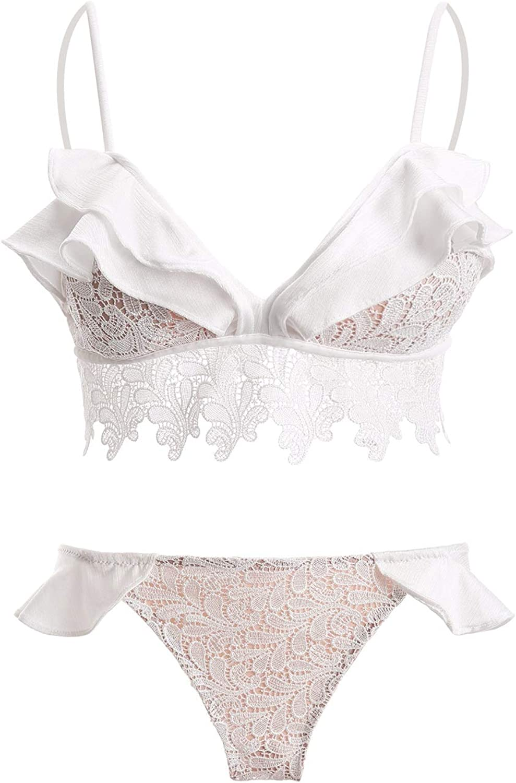 Bikini Set Bikini Swimwear Recreational Swimwear,Lace Sexy Gathered ThreePoint White Spa Split,3 Size Optional JINRONG (color   White, Size   XL)
