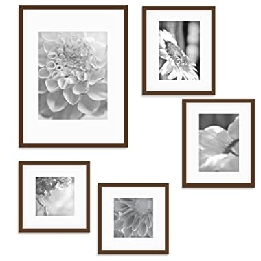 Gallery Perfect Gallery Wall Kit Photo Decorative Art Prints & Hanging Template Picture Frame Set, 5-Piece, Walnut, 5 Piece