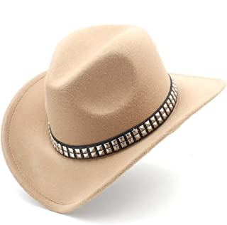 JAUROUXIYUJI New Fashion Women Men Western Cowboy Hat with Roll Up Brim Felt Cowgirl Sombrero Caps (Color : Khaki, Size : 56-58CM)
