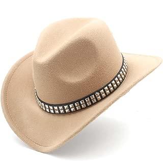 Ruiyue Western Cowboy Hat, Fashion Women Men With Roll Up Brim Felt Cowgirl Sombrero Caps For Unisex