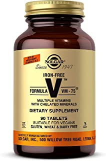 Solgar Iron-Free Formula VM-75, 90 Tablets - Multivitamin with Chelated Minerals - Vitamin A, B6, B12, C, D, E - Biotin, M...