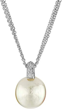 Coin Pearl Pendant CZ Necklace