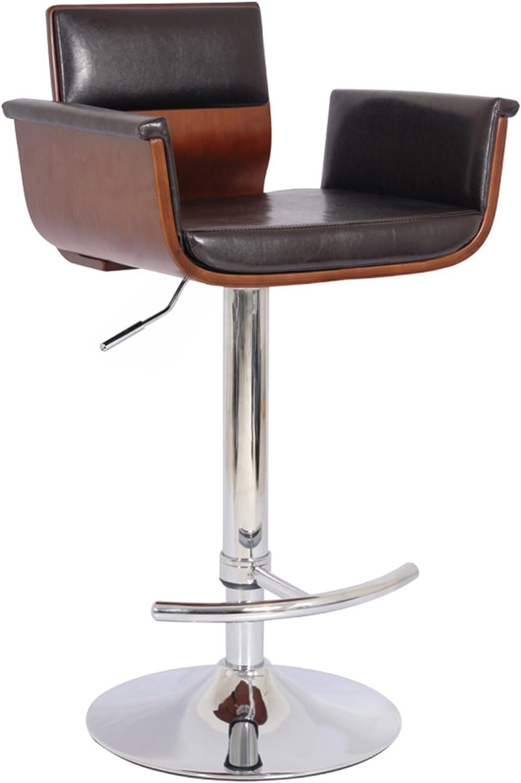 Bentwood Adjustable Swivel Barstool Cherry Wood Finish And Shiny Black Polyurethane And Chrome Base with Curved Seat And Back