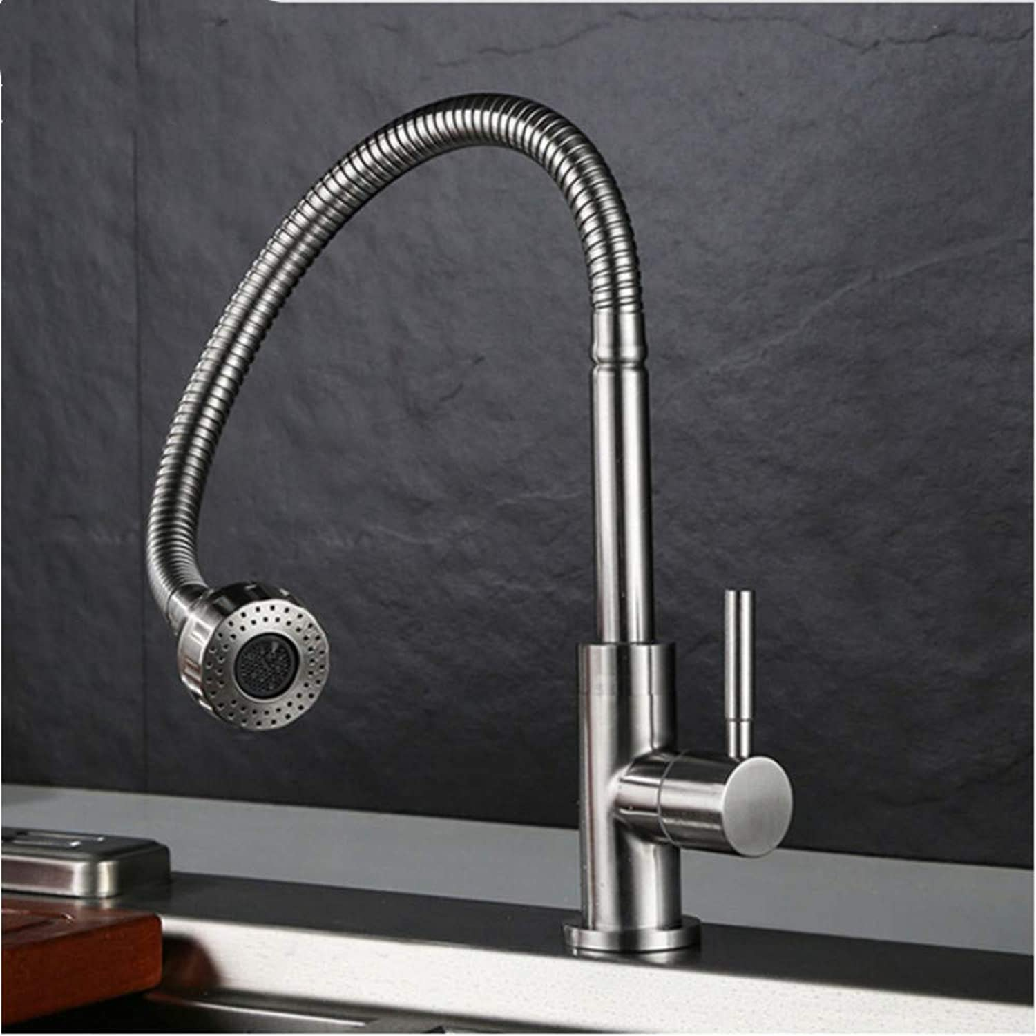 LLLYZZ 304 Stainless Steel Brushed Single Cold Water Kitchen Faucet Water-Saving 2-Function Water Outlet