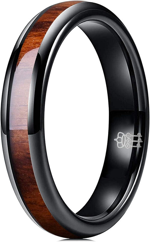 THREE KEYS JEWELRY 4mm 6mm 8mm Black Tungsten Wedding Ring Domed with Real Koa Wood Inlay