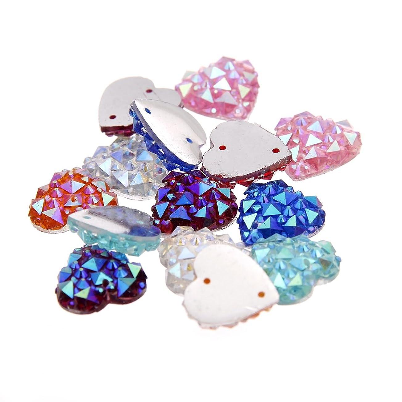 事実上仕えるスライスNizi ジュエリー ブランド 200pcs 心臓の形状 12mm 縫い樹脂ビーズ 2つの穴フラットバック 樹脂ラインストーン DIYの装飾 (混合ABの色)