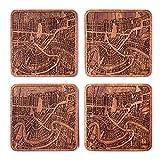 New Orleans Untersetzer mit Landkarte aus Sapeli-Holz, 4