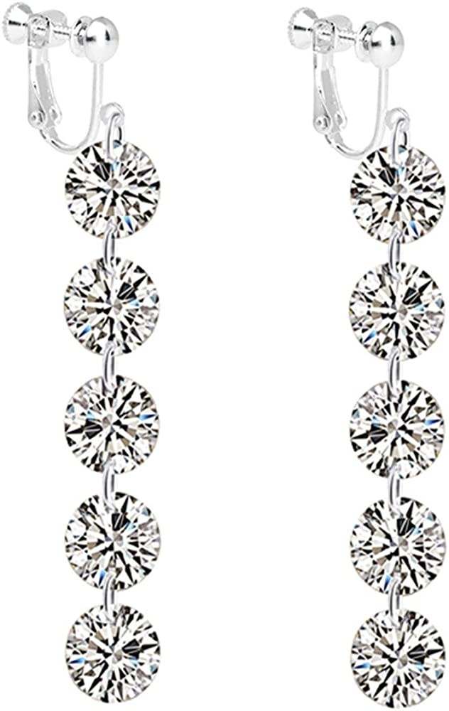 CNCbetter Fashion Womens White Gold Plated Clip on Earrings Cubic Zirconia Classic Round Dangle Prom Wedding Teens