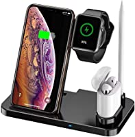 Wireless Charger 4 in 1 Charging Station Qi Fast Wireless Charging Stand for iPhone 11/11 Pro/X/XS/XR/Xs Max/8/8 Plus...