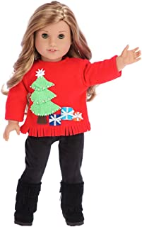DreamWorld Collections - Christmas Sweater - 3 Piece Outfit - Clothes Fits 18 Inch American Girl Doll - Red Sweater, Black Pants and Boots. (Doll Not Included)