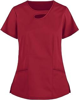 Riou Donna Manica Corta Scollo a V Top,Uniforme Sanità con Tasca,Tinta Unita T-Shirt,Elegante Divisa