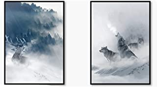 Memoirs- Nordic Black White Animal Poster Wolf Elk Wall Art Canvas Painting Forest Snow Mountain Print Picture for Living Room Home Decor,21x30cm No Frame,2pcs