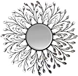 Lulu Decor, Decorative Crystal Metal Vine Wall Mirror, Beveled Mirror, Frame Measures 24', Mirror Measures 11', Perfect for Housewarming Gift (L72MC)