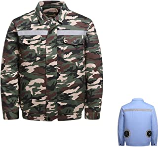Summer Cooling Fan Clothes, USB Charging Wear-Resistant and Tear-Resistant Health and Safety Air-Conditioning Clothes Refrigeration Work Clothes,Camouflage,XXXL