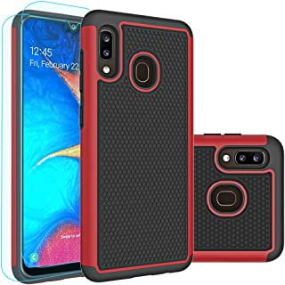 Galaxy A30 Case,Galaxy A20 Case with HD Screen Protector [2 Pack],Thinkart Durable Armor and Shockproof Defender Case Cover for Samsung Galaxy A30,A20 Phone (Red)