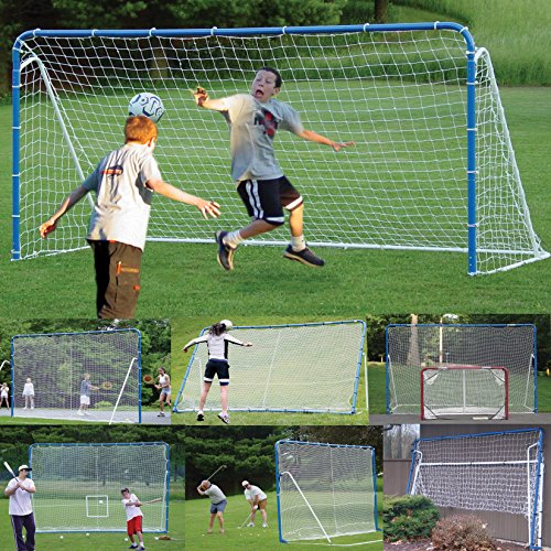 EZGoal 6-in-1 Multi-Sport Folding Tilting Backstop/Goal, Blue (Soccer, Baseball,Golf, Lacrosse,...