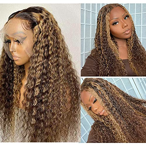 Highlights Lace Front Wigs #4/27 Ombre Brown to Blonde Curly Human Hair Wig Brazilian Virgin Hair 13x1x4 Lace Front Wig Pre Plucked with Baby Hair Glueless Deep Wavy for Women 24inch 150% Density