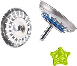 CompraFun Siebkörbchen, Edelstahl Universal Spülbecken Sieb 3.5 Zoll Durchmesser 80 mm, 2 STÜCKE Spülenfilter Sink Filter Abfluss-sieb mit 1 Silikonfilter Grün