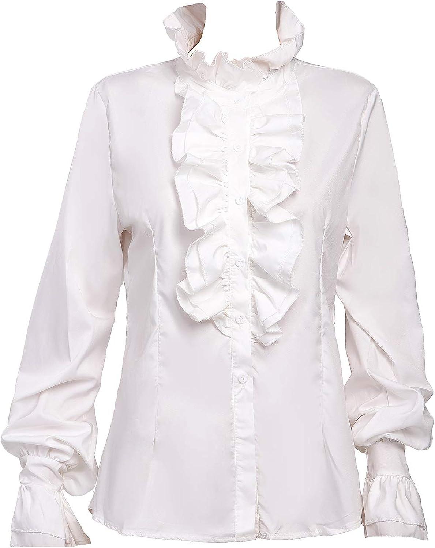 Taiduosheng Women Working Blouses Party Shirts Victorian Button Down Shirts Gothic Ruffled Lotus Shirt Tops