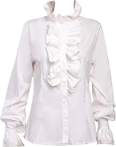 Taiduosheng Camisa de manga trompeta vintage victoriana para mujer, cuello alto, volantes, botones, blusa