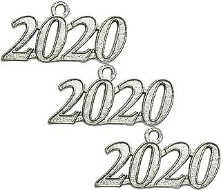 Grekywin Gold Color Signet 2020 Year for Graduation Tassel, Charms Pendants DIY, Bracelet and Necklace, 3 Pcs (3 pcs Silver 2020)