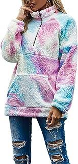 Loose Sweatshirt for Women Fuzzy Fleece Tops Ladies Long Sleeve Tie Dye Casual Patchwork Pullover Zip Up Sweaters Coat Out...