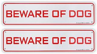 "2 Pack Beware of Dog Sign, 12""x 3"" - .040 Aluminum Sign Rust Free Aluminum-UV Protected and Weatherproof"