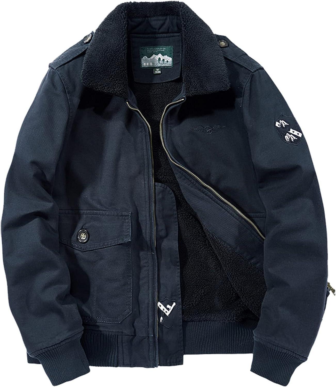 Snhpk Men's Winter Fleece Jacket Bomber Thick Warm Coat Military Jacket
