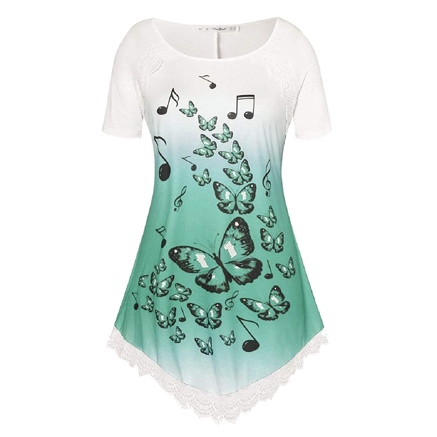 Womens Short Sleeve Fzitimx Summer New Shirts Large Size Gradient Musical Notes Butterfly Print T-Shirt Bat Wing Blouse Casual Tee Shirts pdkjne6650679