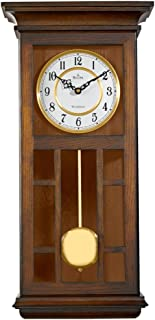 Bulova C4337 Mayfair Chiming Wall Clock, Walnut