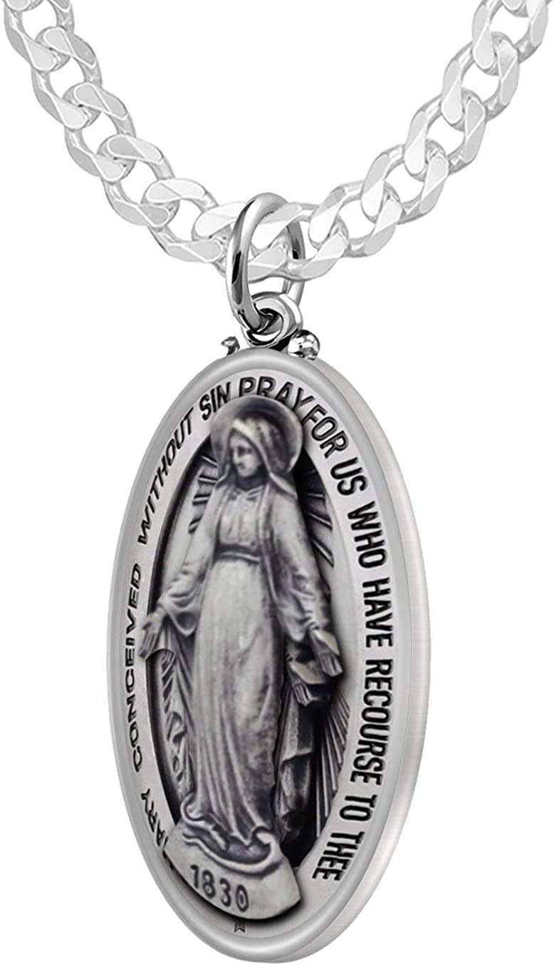 32mm US Jewels Ladies 925 Sterling Silver Antiqued Finish Miraculous Virgin Mary Pendant Necklace