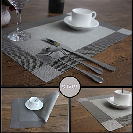 3b760ebbaad NEWTRENDING Placemats Heat Insulation & Stain Resistant Waterproof Dining  Table Placemats Washable Place Mats Set of