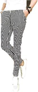 [ニーマンバイ]【在庫限り】 白 黒 ストライプ柄 チェック柄 ジョガーパンツ ストレッチ イージーパンツ L XL