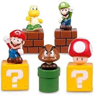 Jiahui Brand Super Mario Brothers Birthay Cake Topper, Super Mario Bros Action Figures, Mini Super Mario Bros Figures Bundle Including Mario, Luigi, Mushroom, Goomba, Koopa Troopa, 2