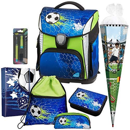 Soccer Champ - Fußball Football - Schneiders LED-TOOLBAG Plus 78324-074 mit LED-LEUCHTSYSTEM Schulranzen-Set 7tlg. mit Schultüte - Füller GRATIS